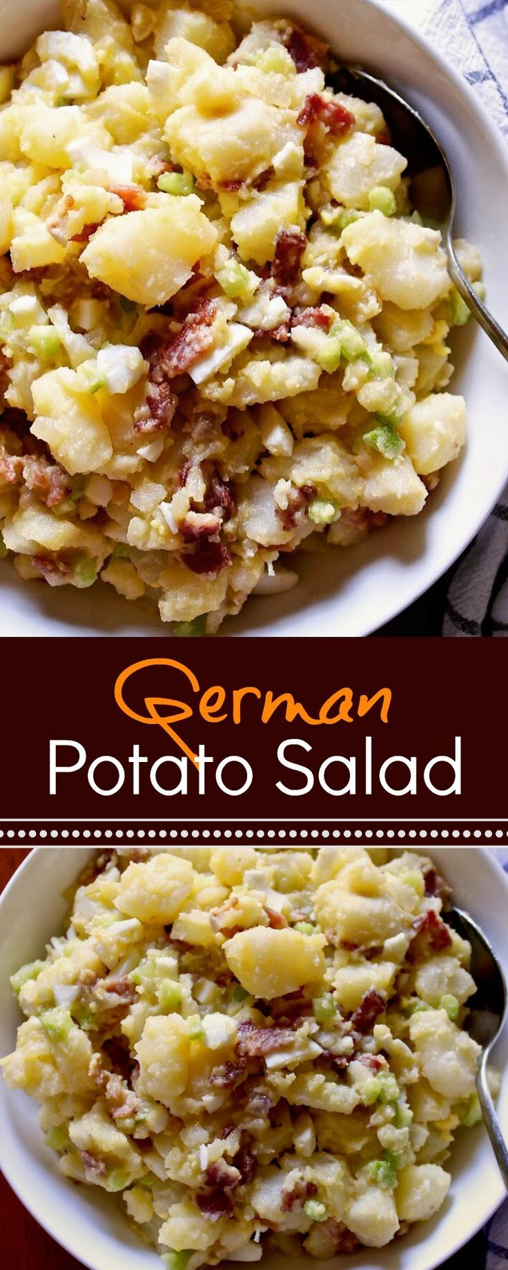German potato salad with sweet and tangy dressing made with pickle juice. #potatosalad #sidess