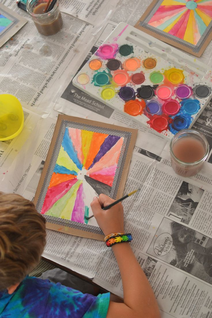 watercolors with kids || art bar for small for big
