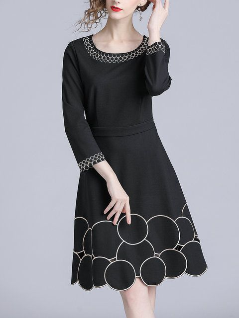 b5c9ad29605e Buy Midi Dresses For Women from Misslook at StyleWe. Online Shopping Black  Embroidered Elegant Geometric A-line Midi Dress