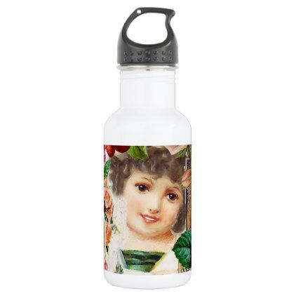 little girl victorian collage water bottle - girl gifts special unique diy gift idea