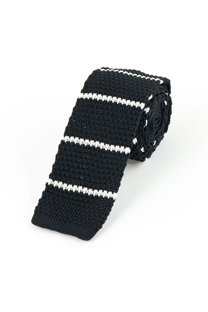 Black Knitted Tie with Stripe
