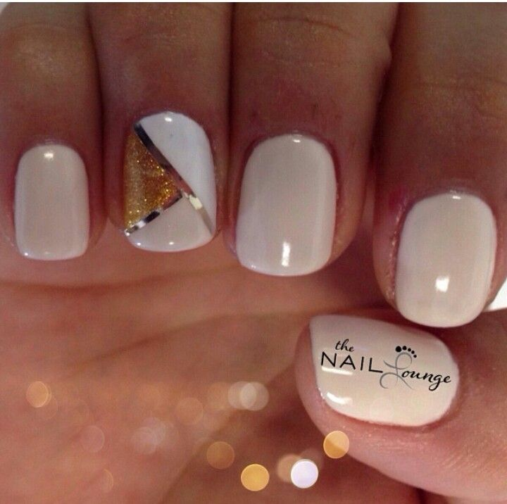 Beige with design on nails