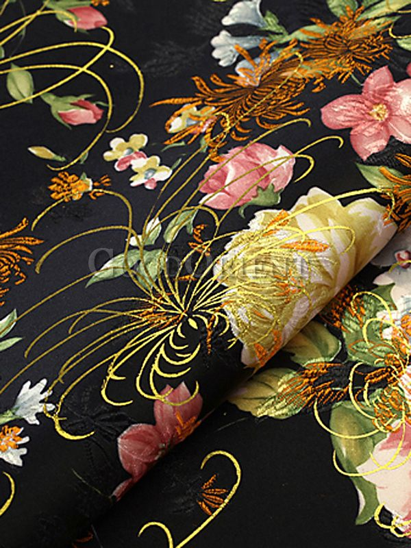 Glorious Chinese Peony Silk Brocade Fabric
