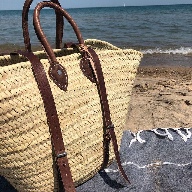 straw basket straw bag Beach Bag wicker basket Round wicker basket Double leather handle Moroccan Basket