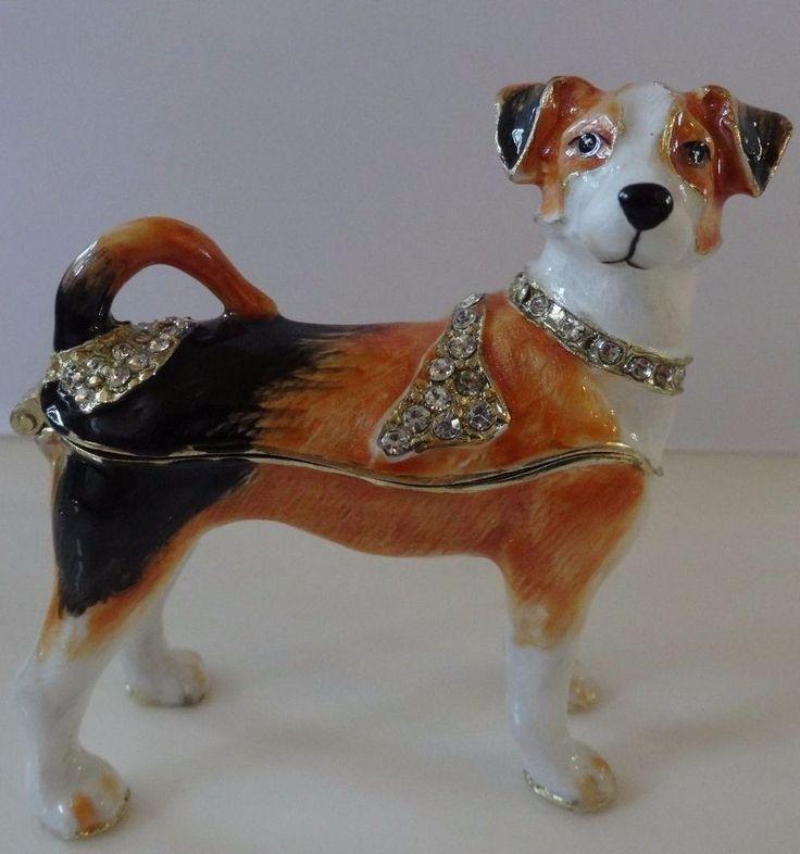 TOY FOX TERRIER Dog animal Jeweled Crystal Jewelry Trinket Box.