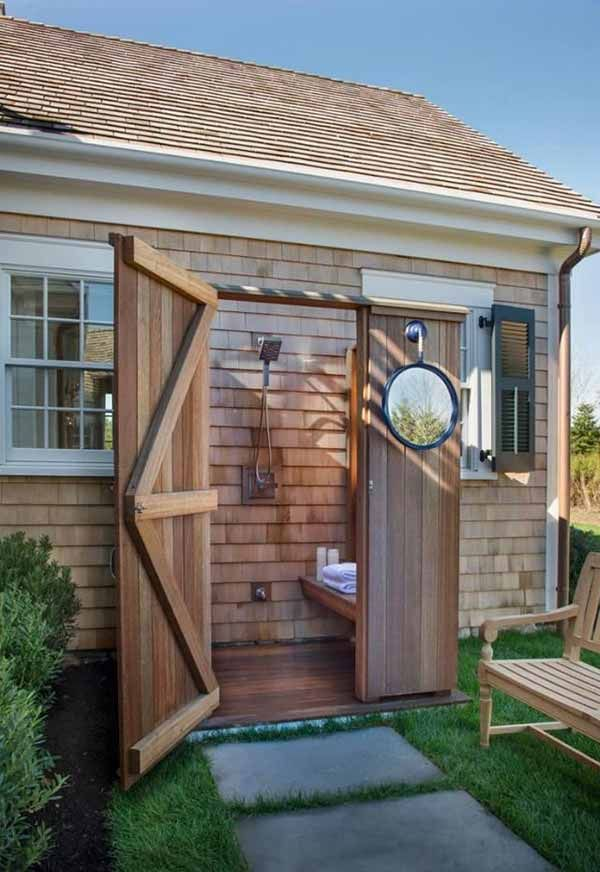 411 best diy shed plans images on pinterest building for Outdoor pool bathroom ideas
