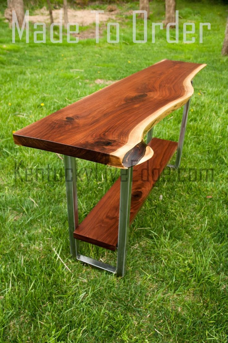 Made to Order Live Edge Console Table With Shelf- Media Console Table- Rustic- Refined-  Industrial Console Table- Sofa Table- Modern Table by KentuckyLiveEdge on Etsy https://www.etsy.com/listing/192605990/made-to-order-live-edge-console-table
