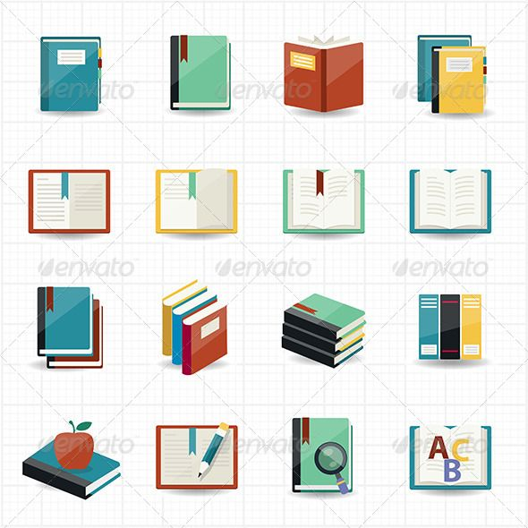 This image is a vector illustration Books Icons and Library Icons with White Background.