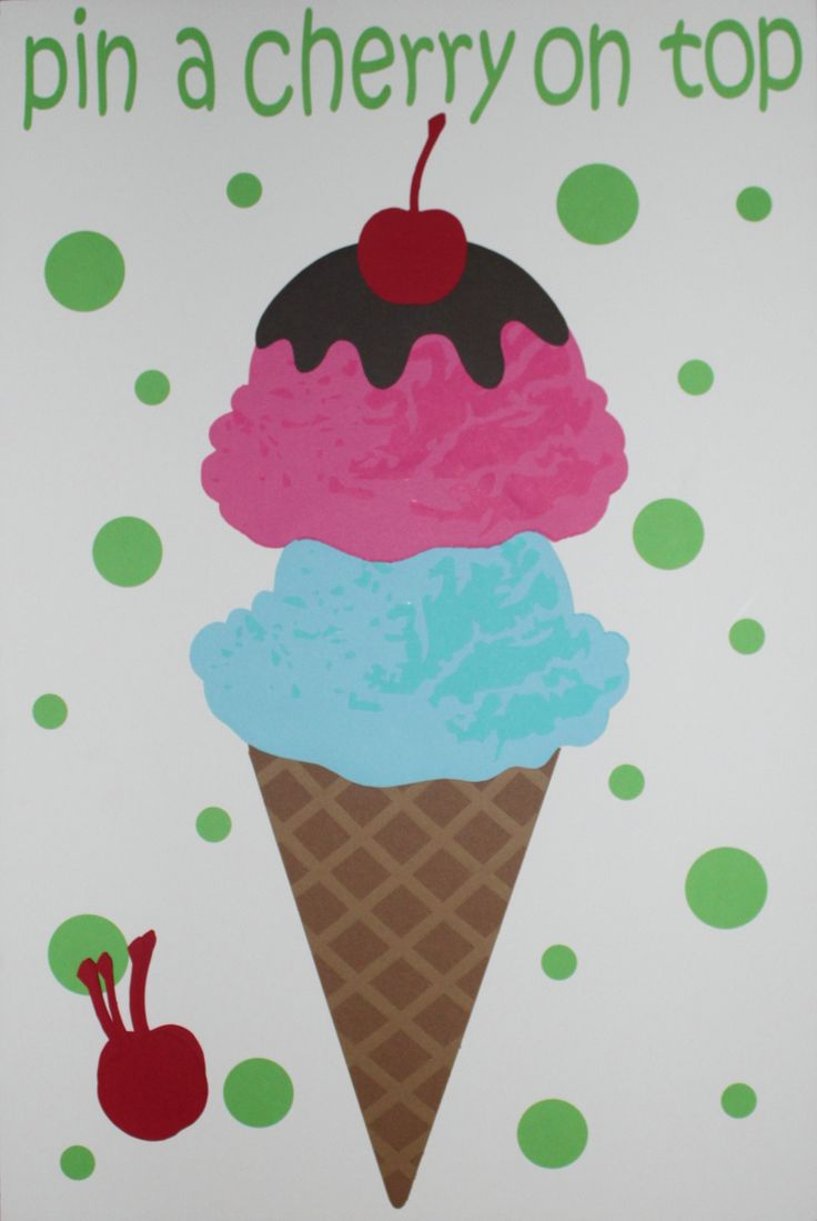 Ice cream party game- pin a cherry on top