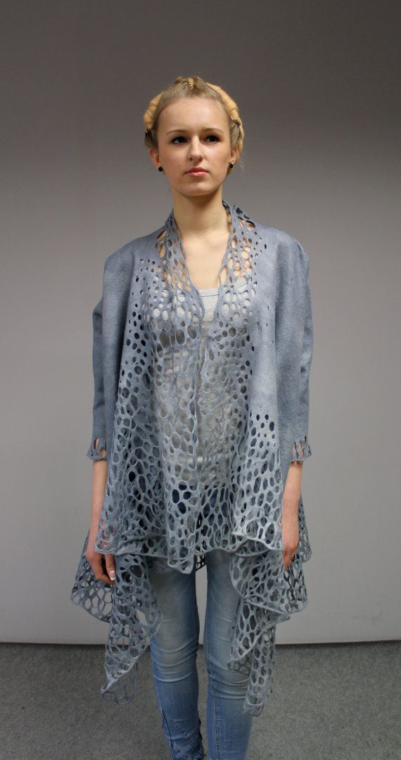 "Felted jacket 'Alar' - "" Fog"". €140,00, via Etsy."