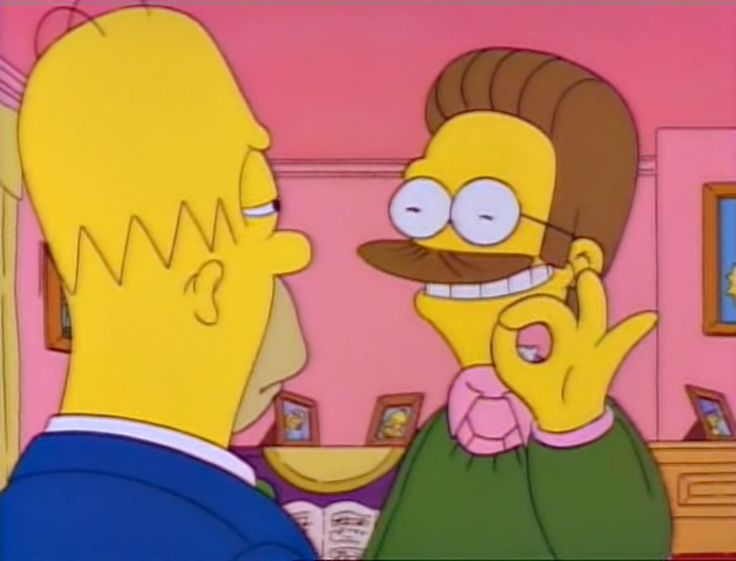 Homer Is Suspicious Of Ned Flandersu0027 Evil Twin, Ted Flanders, Because He Is  Evil + Has No Nose