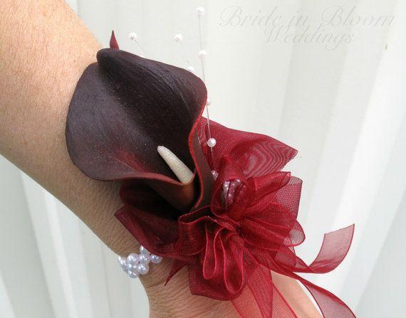 Dark red Calla lily wrist corsage white by BrideinBloomWeddings, $22.00