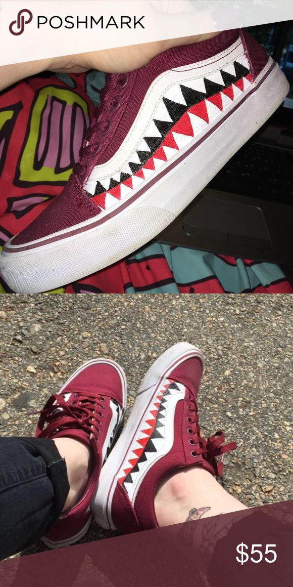 Vans X Bape Custom Old Skool These are custom made Old Skool Vans with the Bape shark mouth hand painted on the sides! These are made by me, all you need to do is let me know what size you are (specify whether it's men's or women's sizing) and the color of shoe you want! Angelus paint is used and then shoes are sealed with Crep to prevent fading! NOT A REAL COLLABORATION Vans Shoes Sneakers