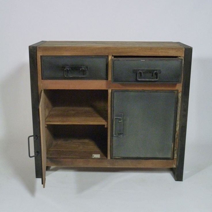 buffet bas industriel 2 portes 2 tiroirs en bois recycle. Black Bedroom Furniture Sets. Home Design Ideas