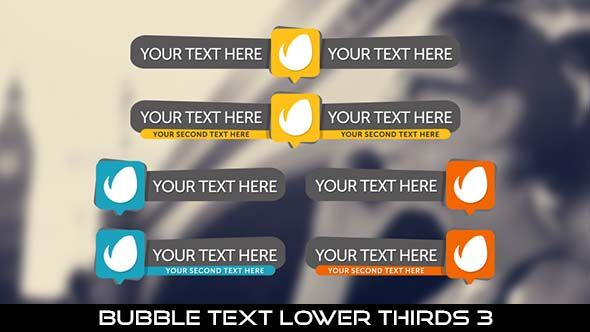 Bubble Text Lower Thirds 3  18 Lowerthirds | Full HD 1920×1080 | Quicktime PNG alpha codec | Each 10 seconds.  After Effects Project File Included.  Available in 3 colors : Yellow, Orange, Blue  #videohive #motiongraphic #aftereffects #broadcast #bubble #bubbletext #caption #cartoon #corporate #flat #lowerthird #modern #professional #simple #television #text #title #youtube