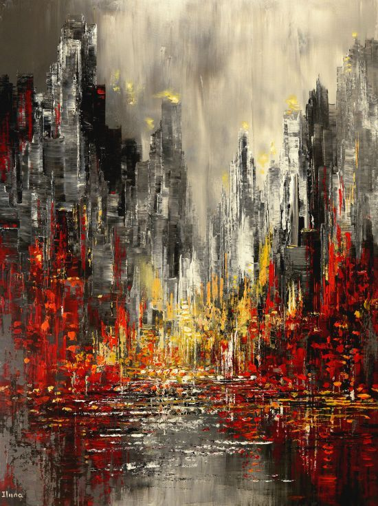 "ARTFINDER: ""Urban Epic"" by Tatiana Iliina - Original Palette Knife Cityscape Painting.  Sides of the canvas are painted black.  Protective coat of varnish applied. The painting is signed on the fro..."