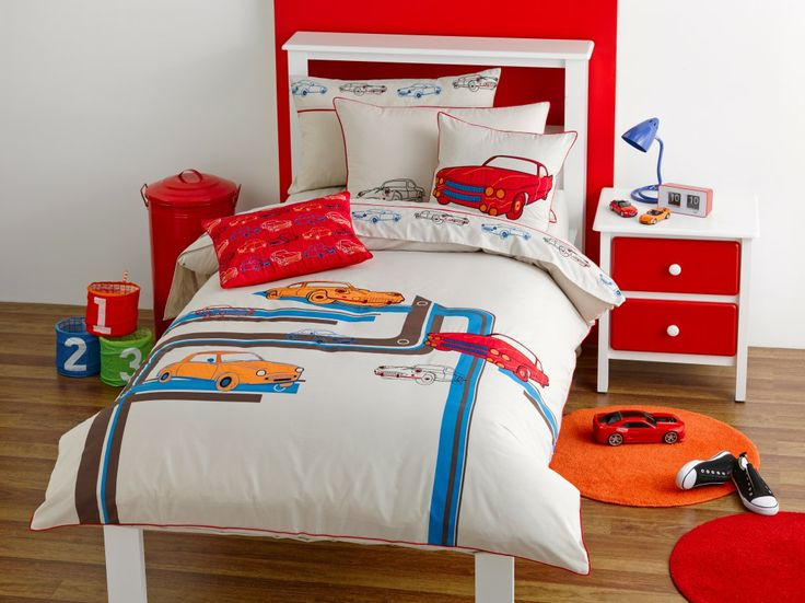 Retro for boys aged 3-10 years. Neutral base colour with hightlights of colour.  Print, applique and embroidery detail 225TC Polyester Cotton Available in:  Quilt Cover sets- SB, DB & QB    Sheet Sets - SB & KSB     45 x 45cm  Filled Cushion 30 x 45cm Filled Cushions http://store.dreamtimeaustralia.com.au/product/retro