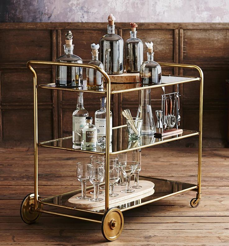 Classic Good Looks...  The Art Deco Inspired 'Roost Florin BrassBar Cart'