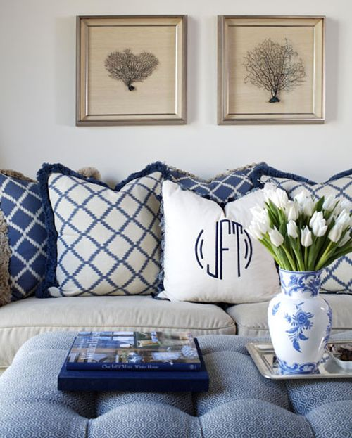 Nice use of reverse patteern fabrics and plainer white monogrammed pillow in center.The Pink Pagoda: Blue and White Monday