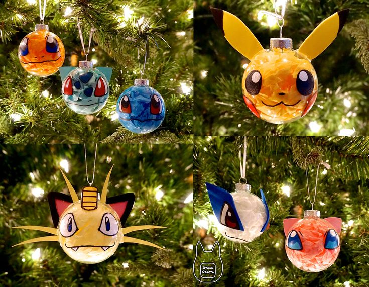 Learn how to make your own here Made using a clear sphere ornament, tissue paper, acrylic paint, foam sheets, and cardstock. Ornaments are of Charmander, Bulbasaur, Squirtle, Pikachu, Meowth, Lugia...