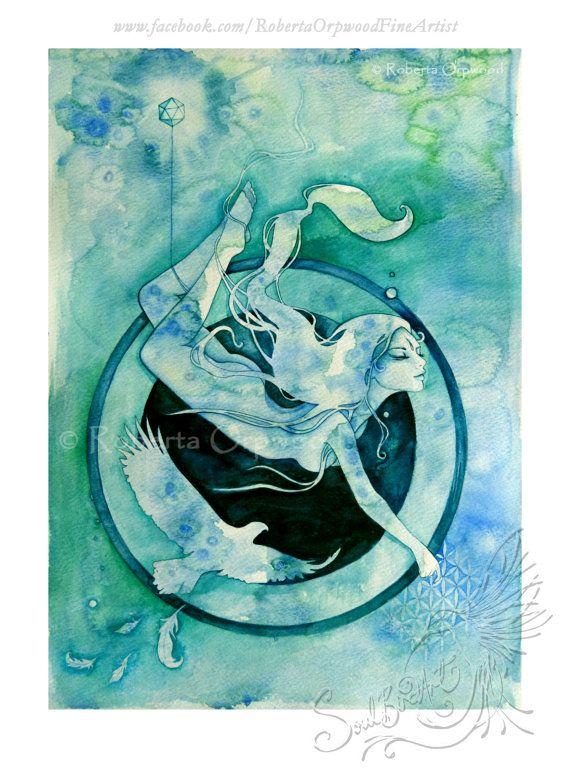 Scorpio Zodiac Goddess / Eagle / Water Elemental / Sacred Geometry / Eagle Spirit / Astrology ~ A3 Art Print by Roberta Orpwood