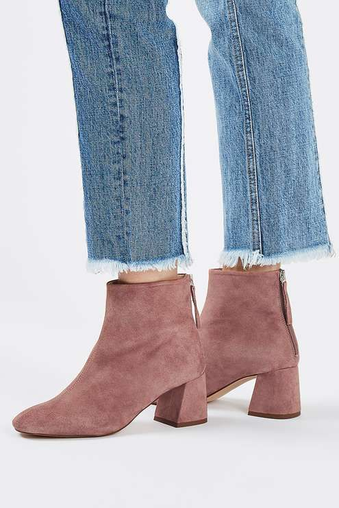 Elevate your ankle boots with this chic pair with a flared heel. In a stunning blush suede finish, they're are perfect to team with denim for a look that's on-trend-without-trying. #Topshop