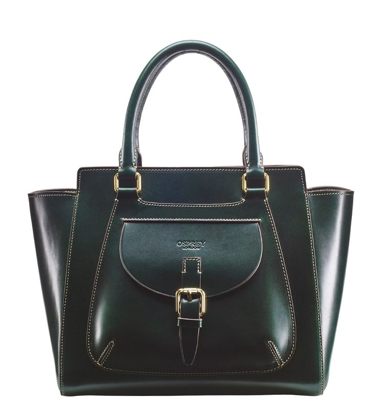 OSPREY LONDON - The Fakenham, in deep bottle green, this handsome equestrian-inspired handbag is handstitched in highly polished Italian leather, veg-tanned the traditional way. £575.00