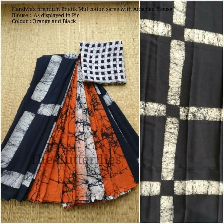 Battick print cotton saree with blouse