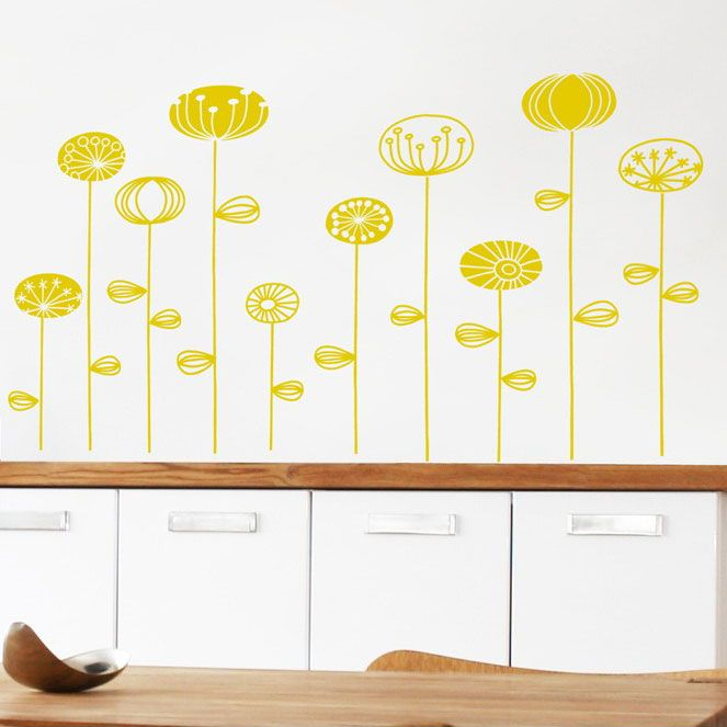 With each one is slightly different than the others, showcase your individuality and love for all things bright and flowery with the hand-drawn Retro Yellow Flower Wall Decals. An easy, colorful way to add interest to any room in your home, these blooming buds remove cleanly without damaging walls, but are not moveable once they've been transferred.