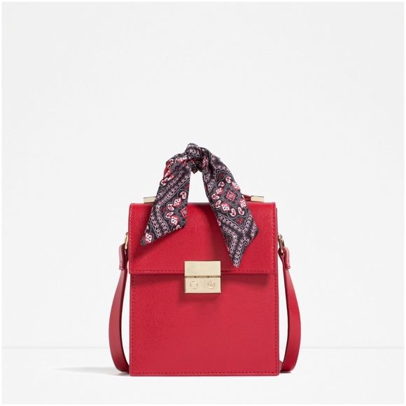 Zara Red Cross body bag with scarf detail purse Zara Red Cross body bag with scarf detail, Height x Width x Depth: 20 x 16 x 7 cm, sold out at zara store Zara Bags Crossbody Bags
