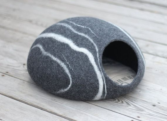 Cat bed/cat cave/cat house/dark grey felted cat cave by elevele
