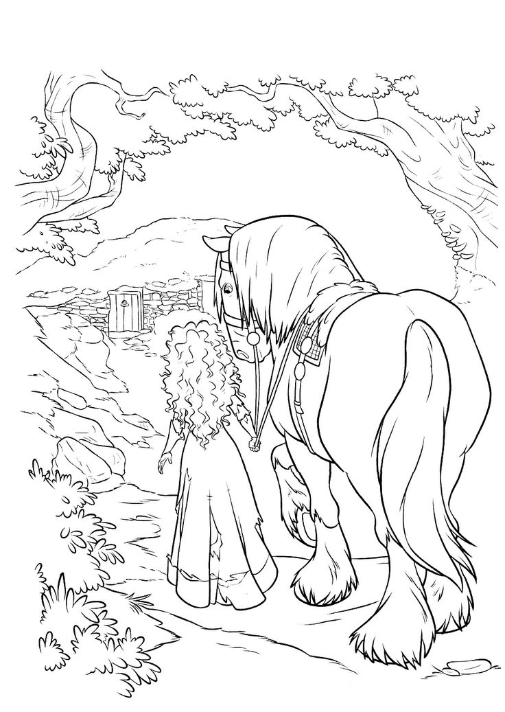 Princess Merida Was Walking Along Horse Coloring Pages