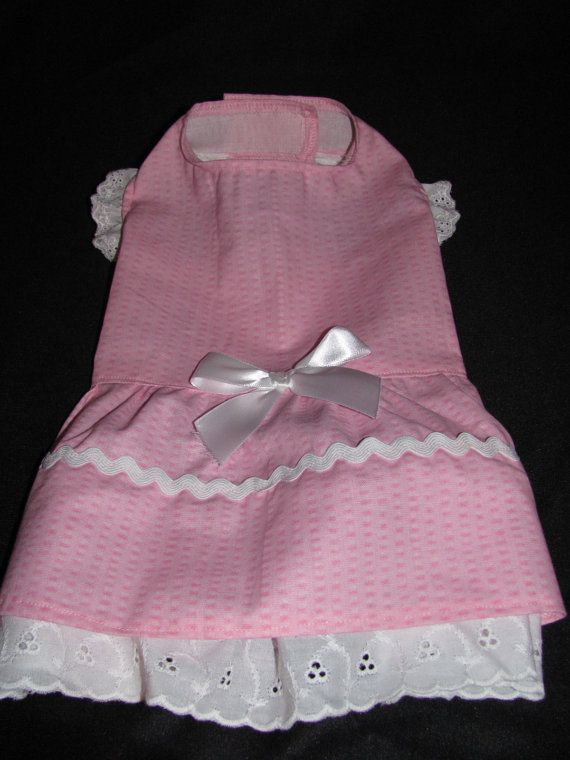 New Pink and White Dog Puppy Dress Pet Clothes XS  by LLdogclothes
