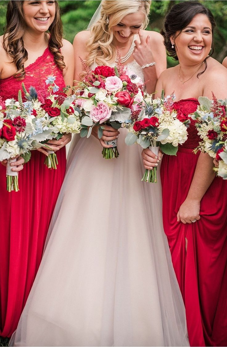 178 best winter wedding inspiration images on pinterest winter red lace bridesmaid dresses are perfect for a winter wedding get their looks at davids ombrellifo Image collections