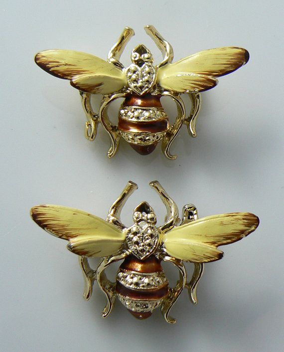 2 Vintage Enamel Bumble Bee Pin by 242VintageLane on Etsy, $25.00