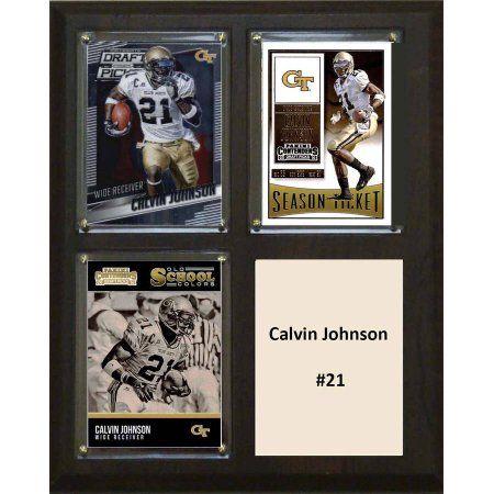 C & I Collectables Ncaa 8 inch x 10 inch Calvin Johnson Georgia Tech Yellow Jackets 3 Card Plaque