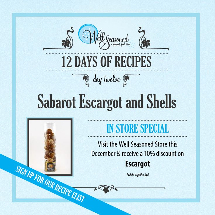 Day 12 of our #ws12days of Recipes went out today: Sabarot Escargot and Shells ft. French Snails (Escargot) Try a themed French Cuisine stocking stuffer this year and pick up some French Duck Fat while you're in store!  Missed the recipe + feature gift idea? Sign up via any of our 12 days of recipes pages! #cookinggifts #frenchcuisine #gourmetgifts #stockingstuffers