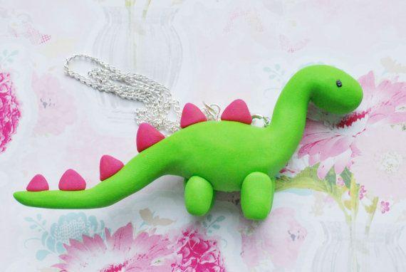 Cute Green Fimo / Polymer Clay Dinosaur by SweetDecoDreams on Etsy