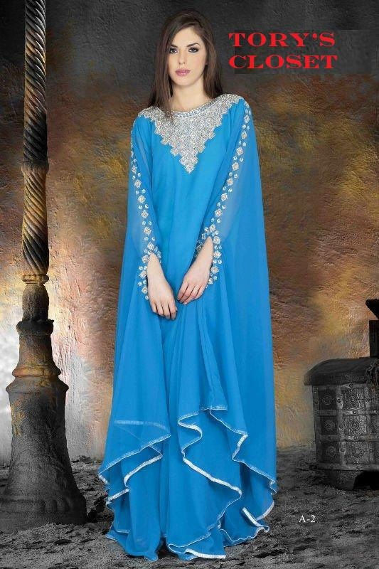 Very Fancy dubai Kaftan/Abaya/jalabiya ladies maxi dress(blue). $149.99, via Etsy.