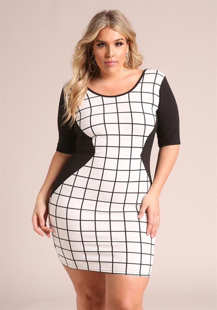 Plus Size Clothing | Plus Size Grid Print Bodycon Dress