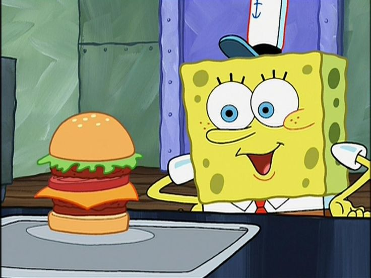 pictures of spongebob eating a krabby patty | krusty krab spongebob is making a krabby patty and when he is finished ...