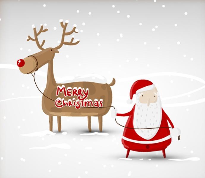 Christmas Deer Santa Claus Vector Greetings, Fun gift,  happy christmas holiday,  ice isolated modern present red Retro sack santa season Silhouette smile snow snowball snowflake text tradition, white winter xmas.