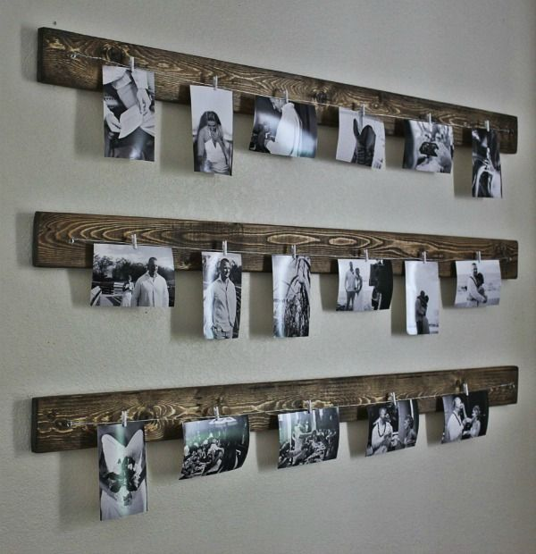 DIY Wired photo rack. Gallery Wall Ideas and Inspiration for PIcture Frame Displays.  Family picture frame ideas and ornament for displaying your home portraits.