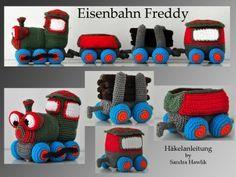 Häkelanleitung, DIY – Eisenbahn Freddy – Ebook, PDF, deutsch oder englisch