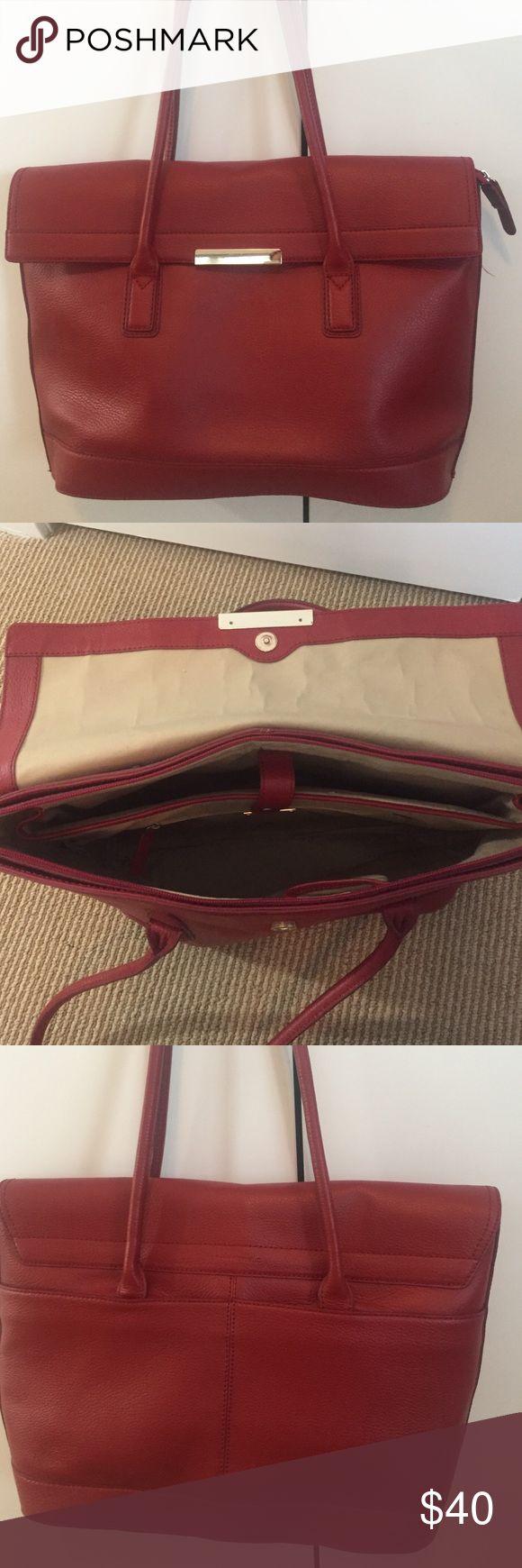 Banana Republic Leather Red Tote Bag Banana Republic Real Leather Red Tote Bag w/ Laptop Compartment Banana Republic Bags Laptop Bags