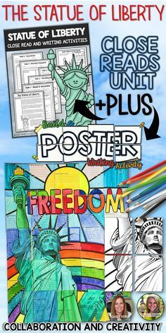 STATUE OF LIBERTY, CLOSE READS UNIT, COLLABORATIVE POSTER, WRITING ACTIVITY |  English Language Arts, Social Studies - History, Close Reading |  Grades 4th, 5th, 6th, 7th, Homeschooling | The Statue of Liberty is an excellent symbol of freedom around the world. Your students will enjoy learning about the history, facts, meanings, and the importance of the Statue of Liberty with the components of this engaging, helpful resource!