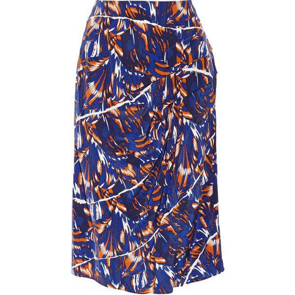 KENZO Printed silk crepe de chine skirt (£128) ❤ liked on Polyvore featuring skirts, blue, below the knee skirts, kenzo, blue silk skirt, royal blue skirt and below knee skirts