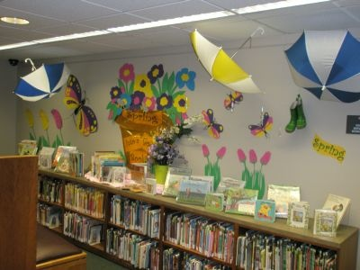 What An Adorable Display Spring Library Decor Love