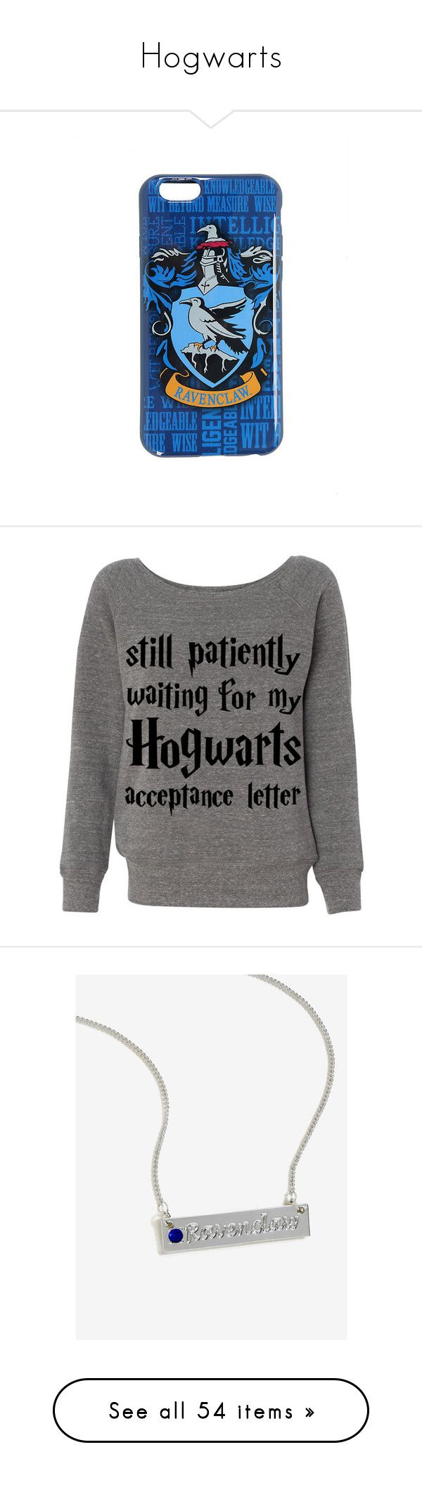"""Hogwarts"" by puppylover32203 ❤ liked on Polyvore featuring harry potter, phone cases, ravenclaw, phone, tops, shirts, sweaters, sweatshirts, initial shirts and slouchy tops"