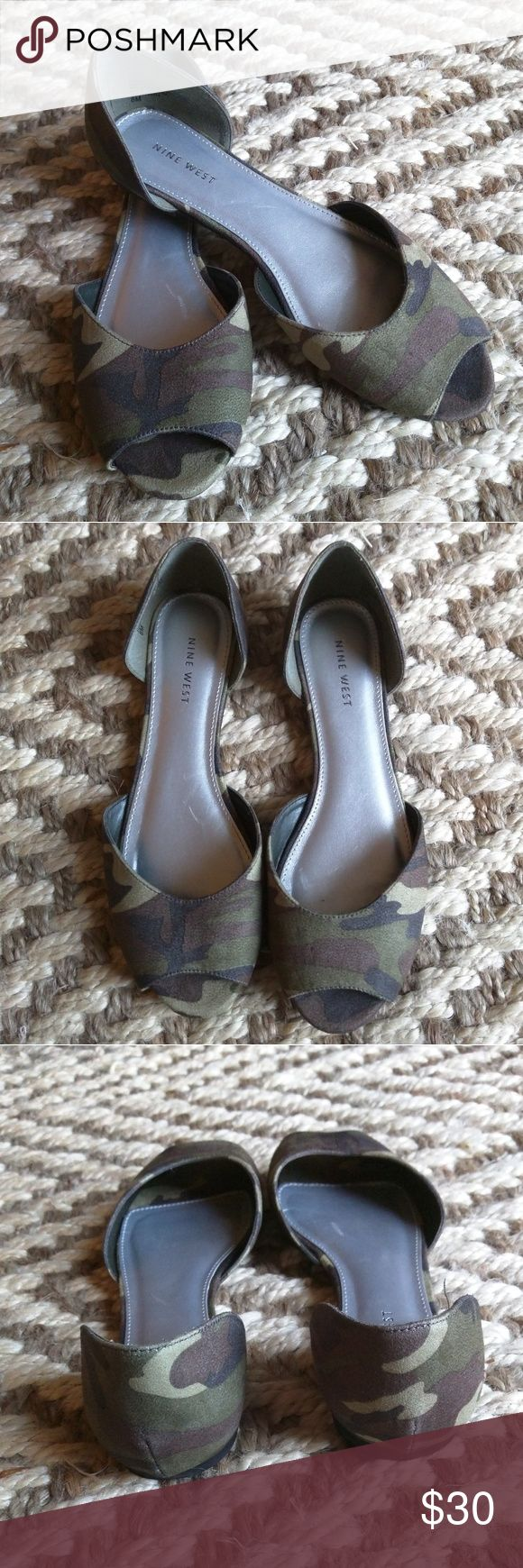 Nine West Camouflage Flats Adorable flats by Nine West, worn once! Awesome camouflage pattern, great for summer! Nine West Shoes Flats & Loafers